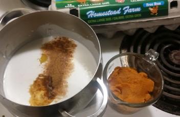 pumpkin ice cream ingredients on stove