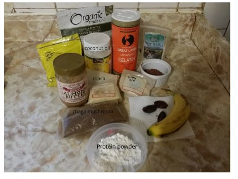 hot chocolate smoothie bowl ingredients-labeled